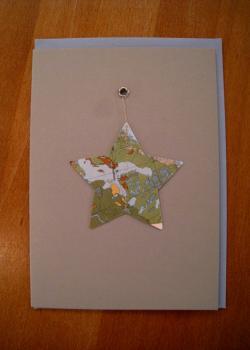 094 karte weihnacht stern landschaft b