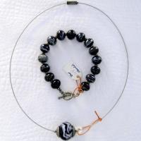Halskette armband schwarzweiss schmuck 006 b